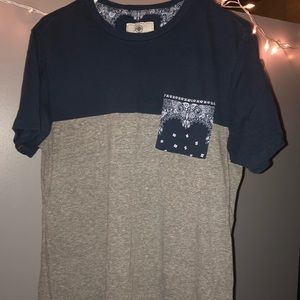 On The Byas Navy Blue/Gray Unique Patch T-Shirt